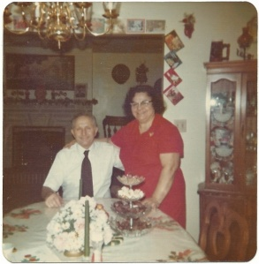 Dad with Mom, her glasses and her smile at Christmas.