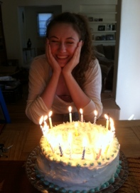 Laughing outside, mocking my cake decorating inside, but I love her anyway.