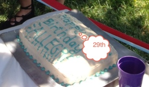 Allegra's cake sans age...she forbade me to include it. There are those dang dots again.  This is getting embarrassing.