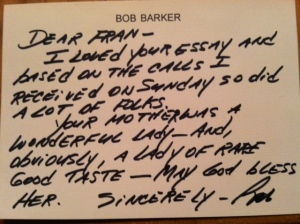 Bob Barkers letter to me after the story in the LA Times.