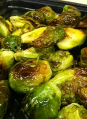 Yummy roasted Brussels sprouts with olive oil and sea salt.