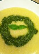 Polenta with pesto.