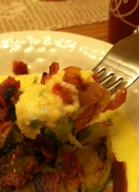 Polenta with bacon, Brussels sprouts and caramelized onion.