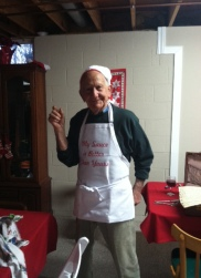 A Uncle Richard at Christmas, in the apron I designed with him in mind.