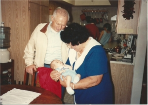 My parents meeting the child we did all that walking for.