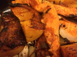 Fantastic roast squash, potatoes, onions and garlic!