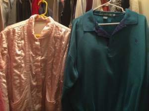 Mom and Dad's clothes in my closet.