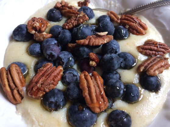 Cream of wheat with blueberries and pecans.JPG